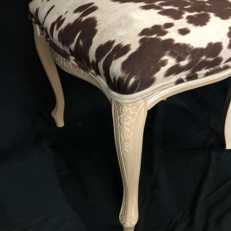 Set of Three Louis XV Style Bleached Wood Chairs with Faux Hide Upholstery For Sale 6