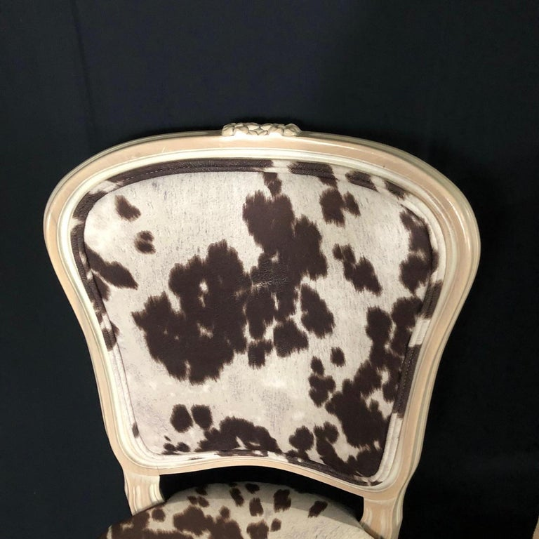American Set of Three Louis XV Style Bleached Wood Chairs with Faux Hide Upholstery For Sale