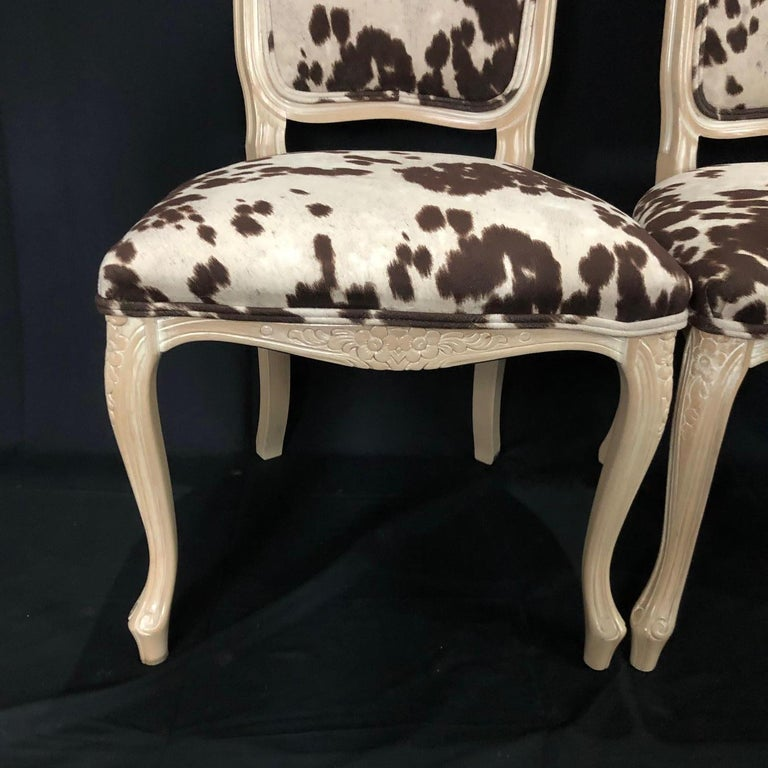 Set of Three Louis XV Style Bleached Wood Chairs with Faux Hide Upholstery In Good Condition For Sale In Hopewell, NJ