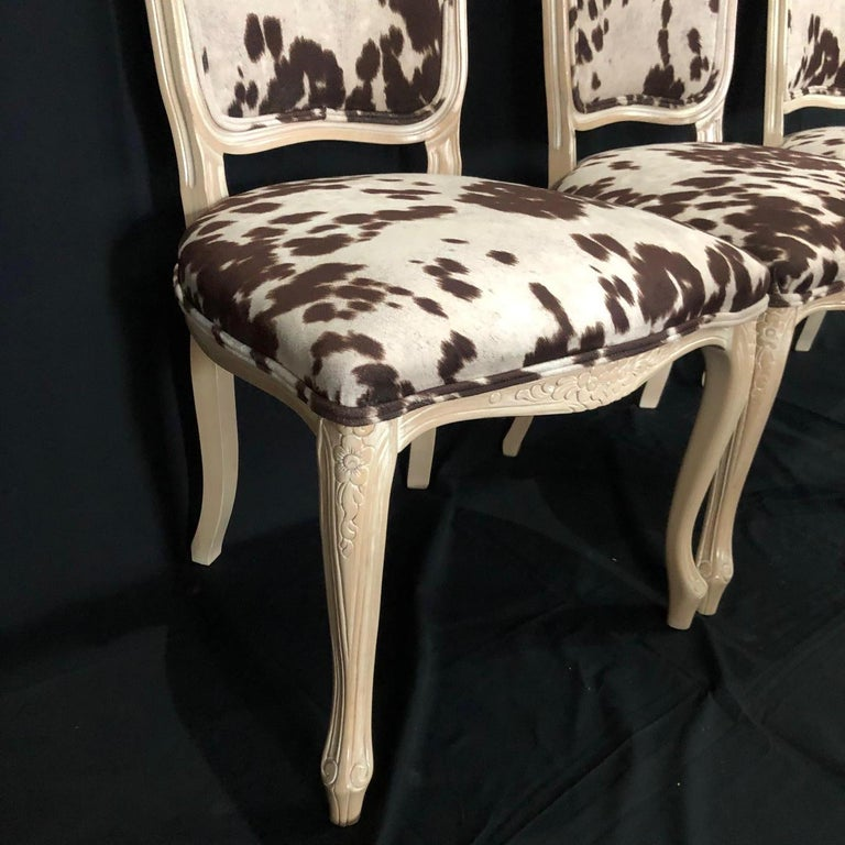 Mid-20th Century Set of Three Louis XV Style Bleached Wood Chairs with Faux Hide Upholstery For Sale