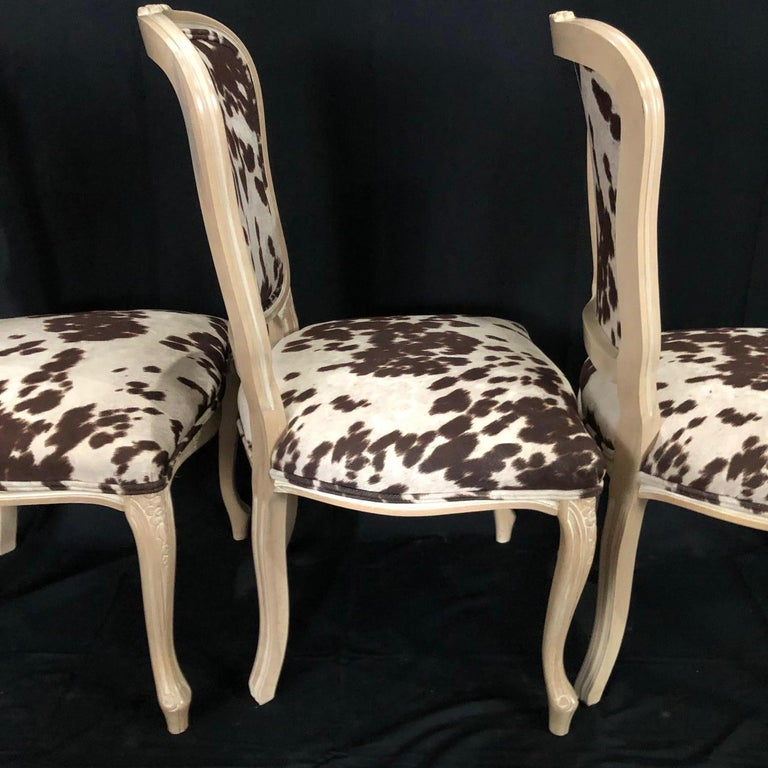 Set of Three Louis XV Style Bleached Wood Chairs with Faux Hide Upholstery For Sale 3