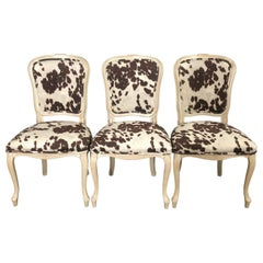Set of Three Louis XV Style Bleached Wood Chairs with Faux Hide Upholstery