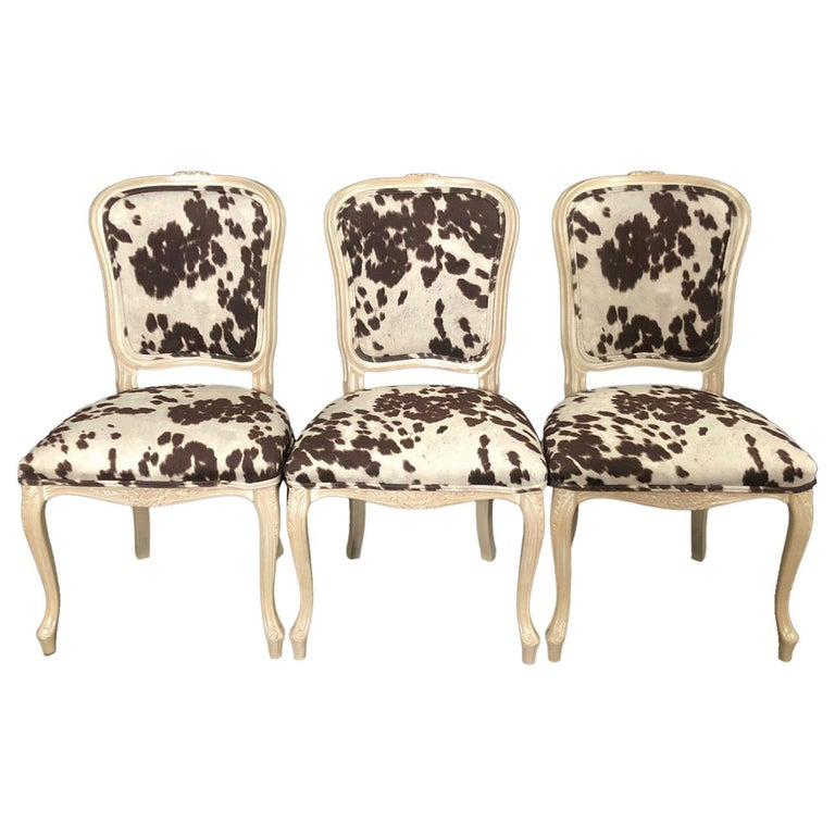 Set of Three Louis XV Style Bleached Wood Chairs with Faux Hide Upholstery For Sale
