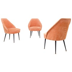 Set of Three Lounge Chairs in Pink Velvet by Carlo Pagano for Arflex, Italy 1952