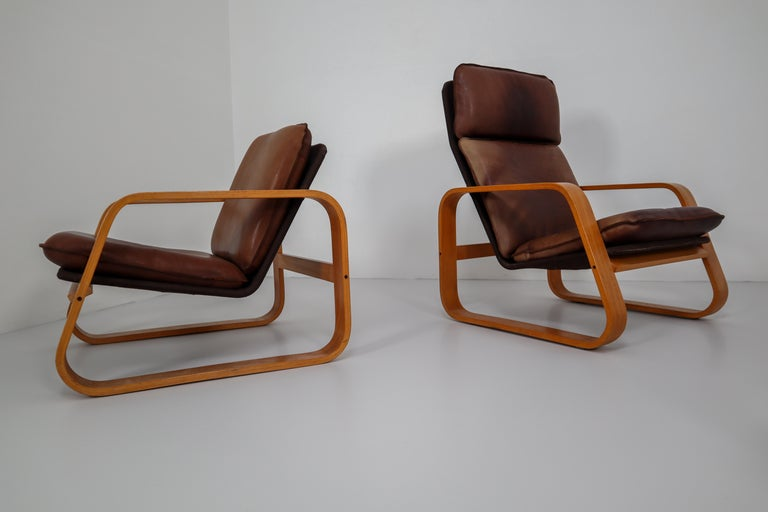 Set of Three Lounge Chairs, Patinated Leather and Bentwood, France, 1970s For Sale 5
