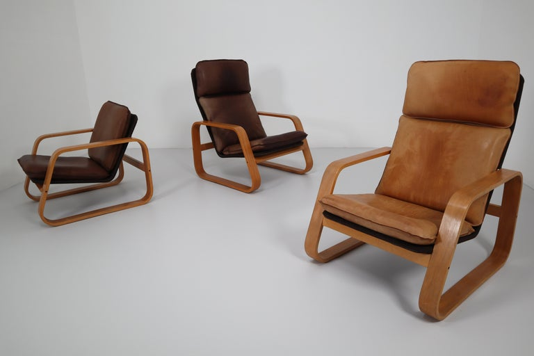 Set of Three Lounge Chairs, Patinated Leather and Bentwood, France, 1970s For Sale 6
