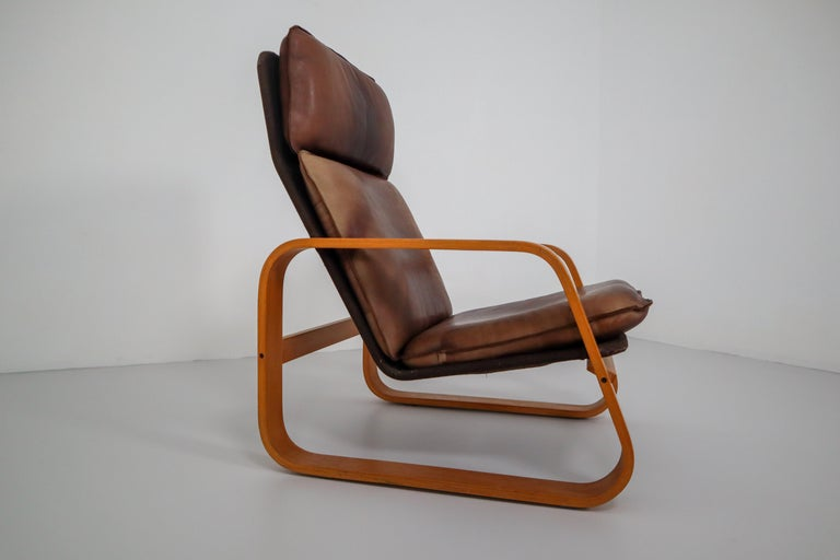 French Set of Three Lounge Chairs, Patinated Leather and Bentwood, France, 1970s For Sale