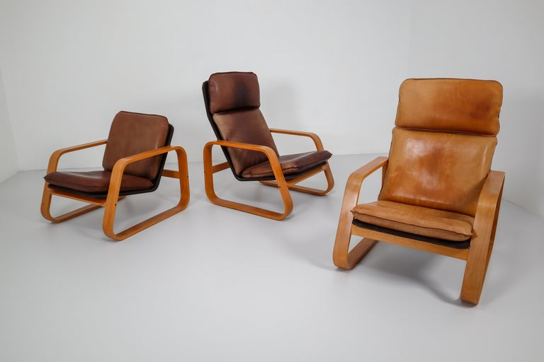 Late 20th Century Set of Three Lounge Chairs, Patinated Leather and Bentwood, France, 1970s For Sale