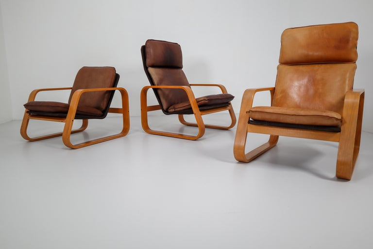 Set of Three Lounge Chairs, Patinated Leather and Bentwood, France, 1970s For Sale 1