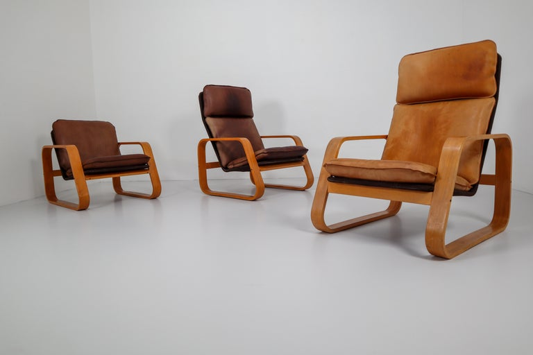 Set of Three Lounge Chairs, Patinated Leather and Bentwood, France, 1970s For Sale 2
