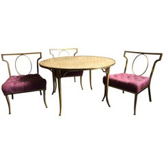 Set of Three Low Brass Directoire Style Chairs with Round Capiz Shell Top Table