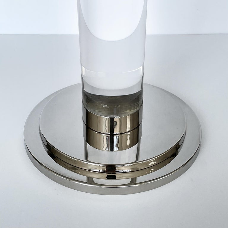 Set of Three Lucite and Chrome Candlesticks For Sale 6