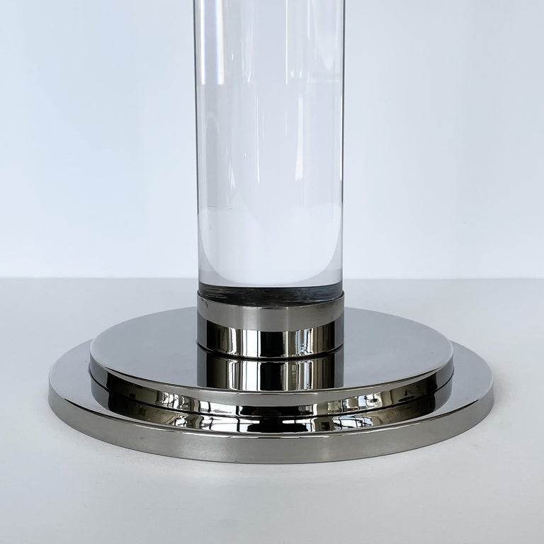 Set of Three Lucite and Chrome Candlesticks For Sale 7