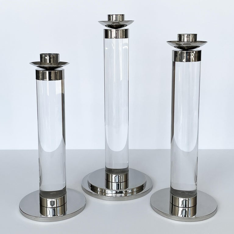 Italian Set of Three Lucite and Chrome Candlesticks For Sale