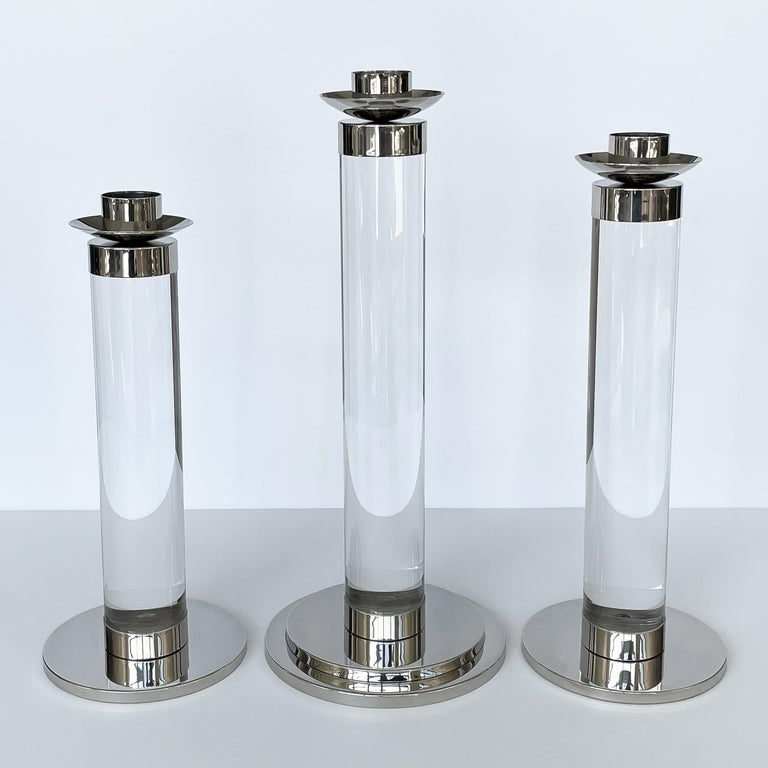 Plated Set of Three Lucite and Chrome Candlesticks For Sale