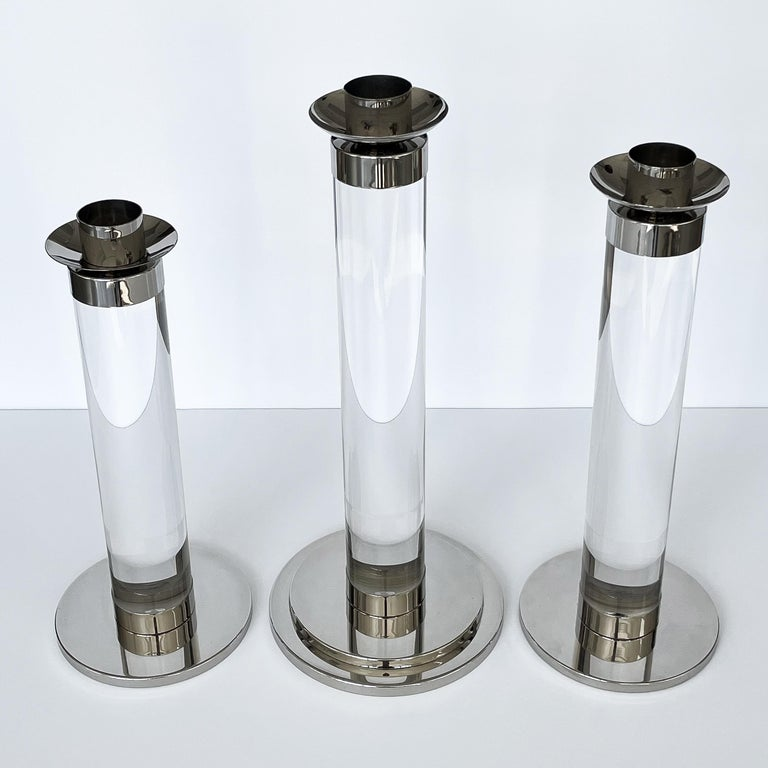 Late 20th Century Set of Three Lucite and Chrome Candlesticks For Sale