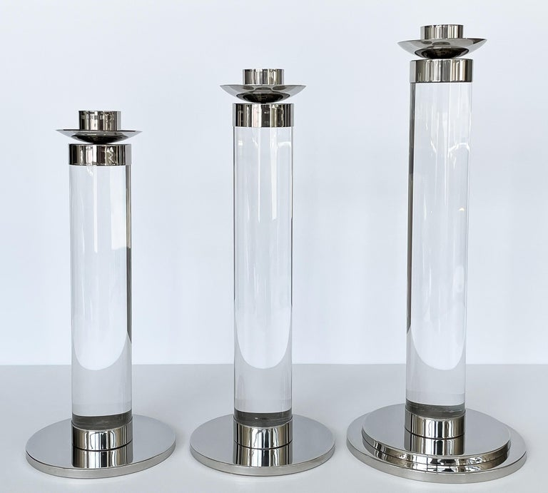 Set of Three Lucite and Chrome Candlesticks For Sale 1