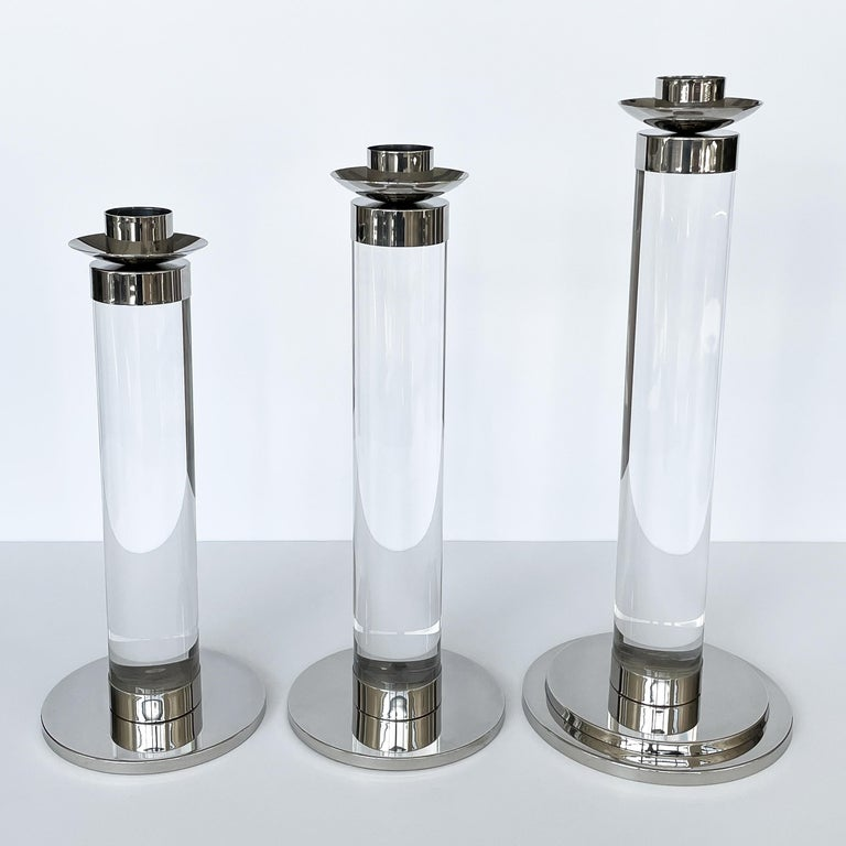 Set of Three Lucite and Chrome Candlesticks For Sale 2