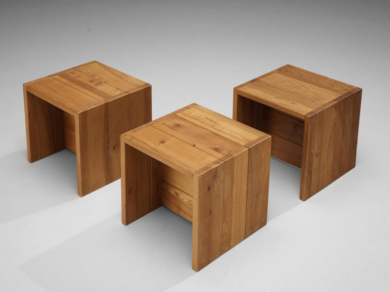 Maison Regain, set of three side tables, solid elm, France, 1970s