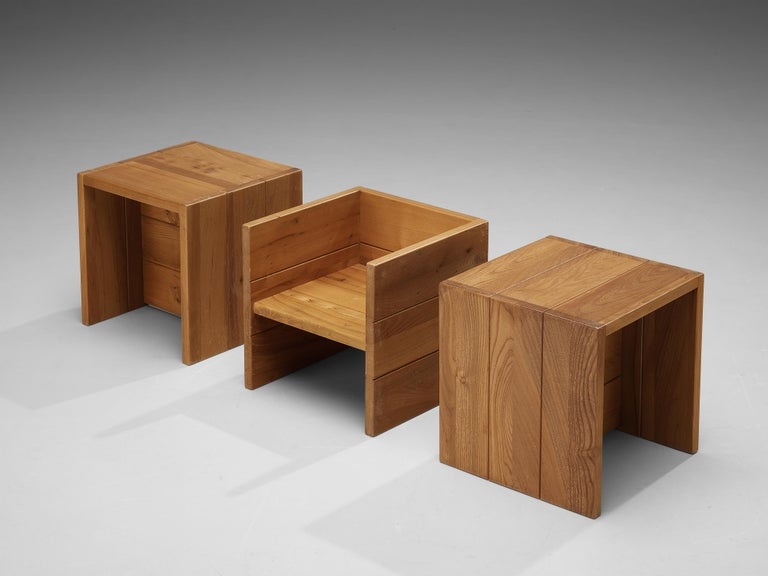 French Set of Three Maison Regain Cubic Side Tables in Elm For Sale