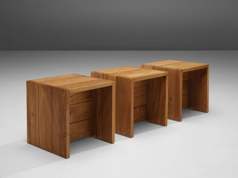 Late 20th Century Set of Three Maison Regain Cubic Side Tables in Elm For Sale