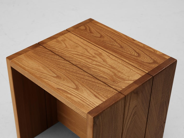 Set of Three Maison Regain Cubic Side Tables in Elm For Sale 1