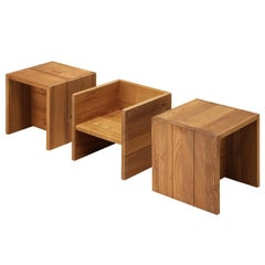 Set of Three Maison Regain Cubic Side Tables in Elm