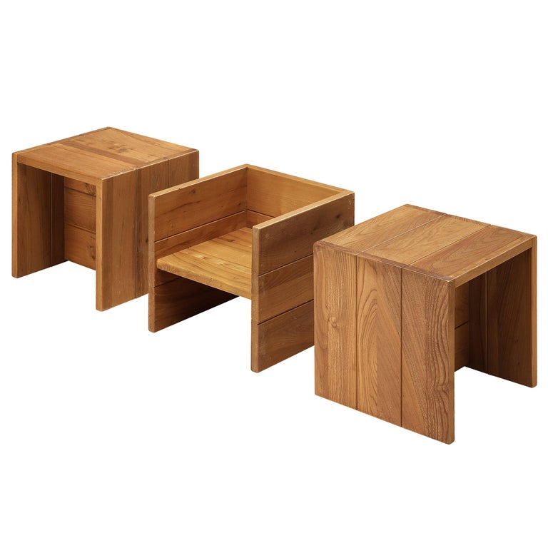 Set of Three Maison Regain Cubic Side Tables in Elm For Sale