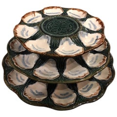 Set of Three Majolica Long Champ Oyster Platters, 19th Century