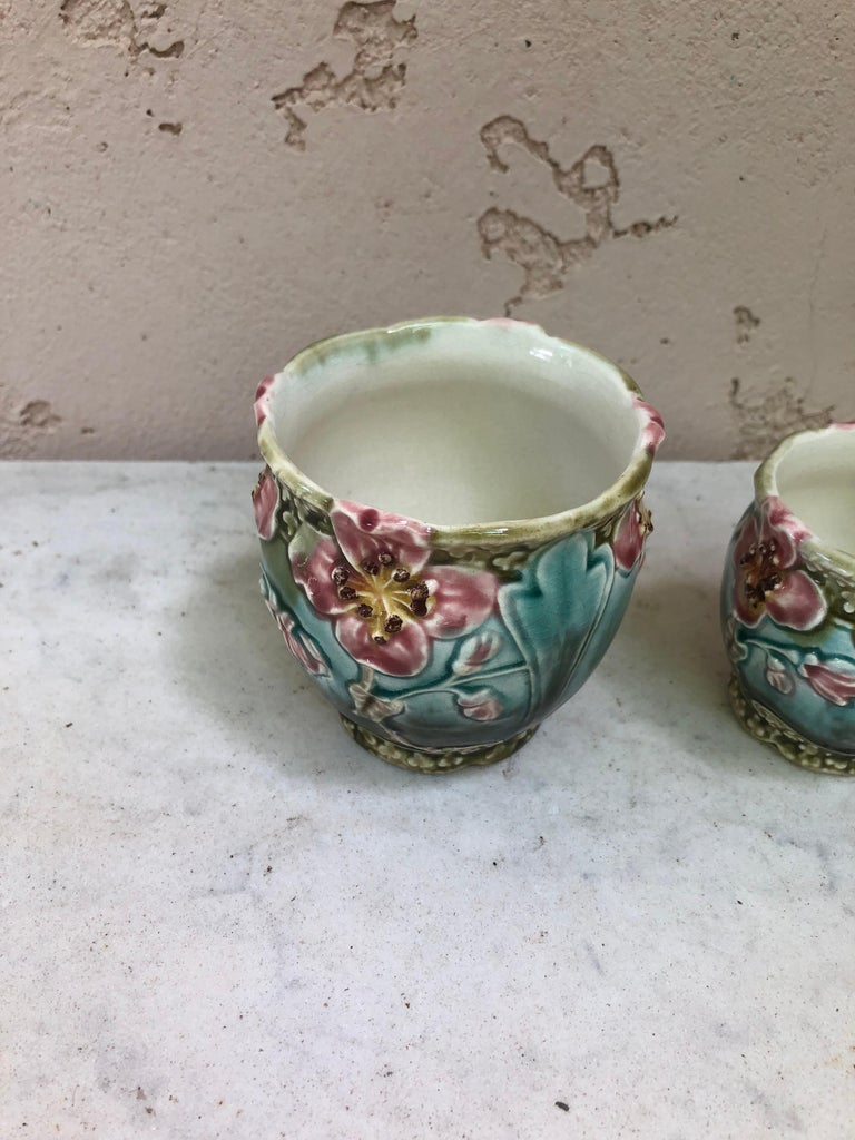 French Set of Three Majolica Pots with Flowers Fives Lille Circa 1890 For Sale