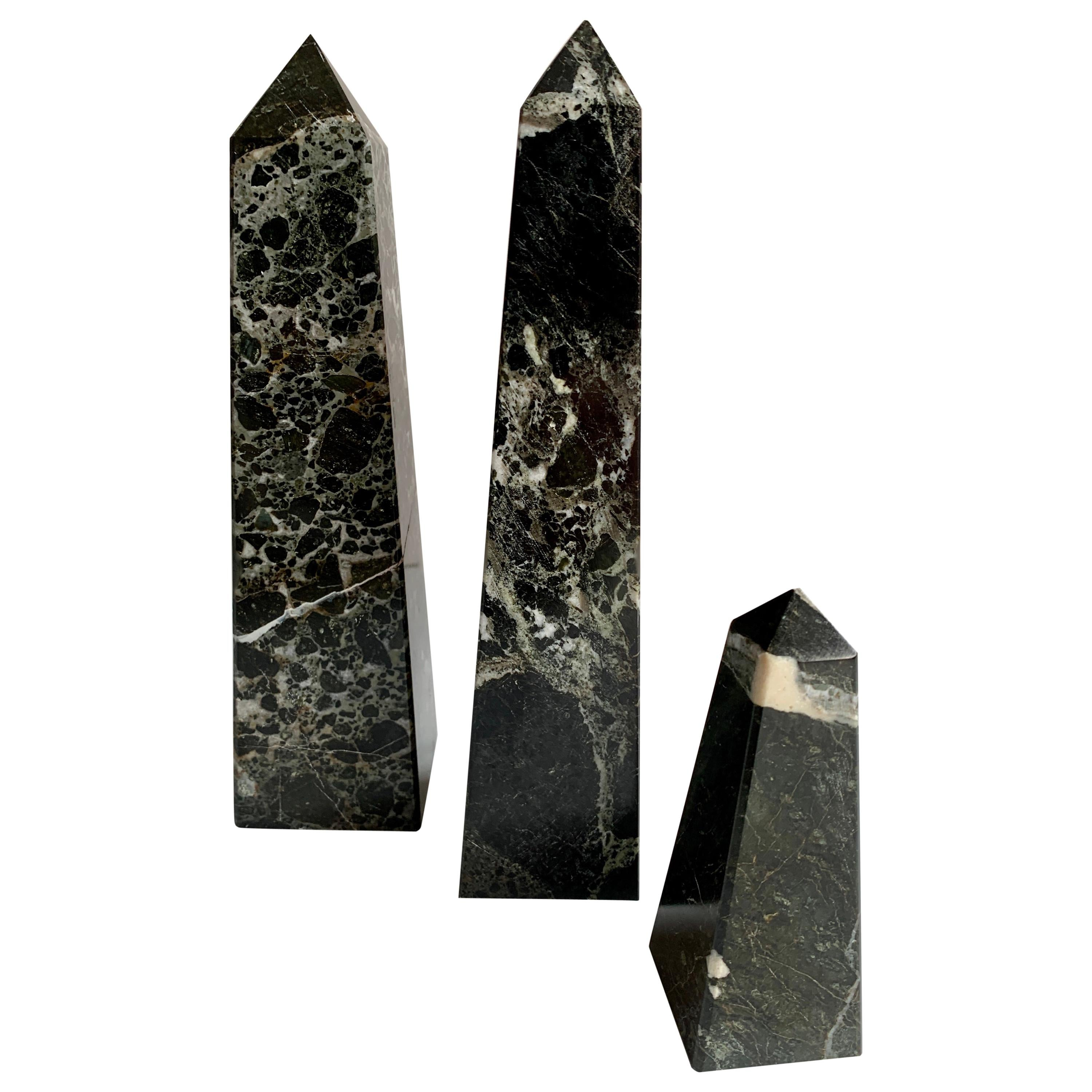 Set of Three Marble Obelisk Paper Weight Bookends
