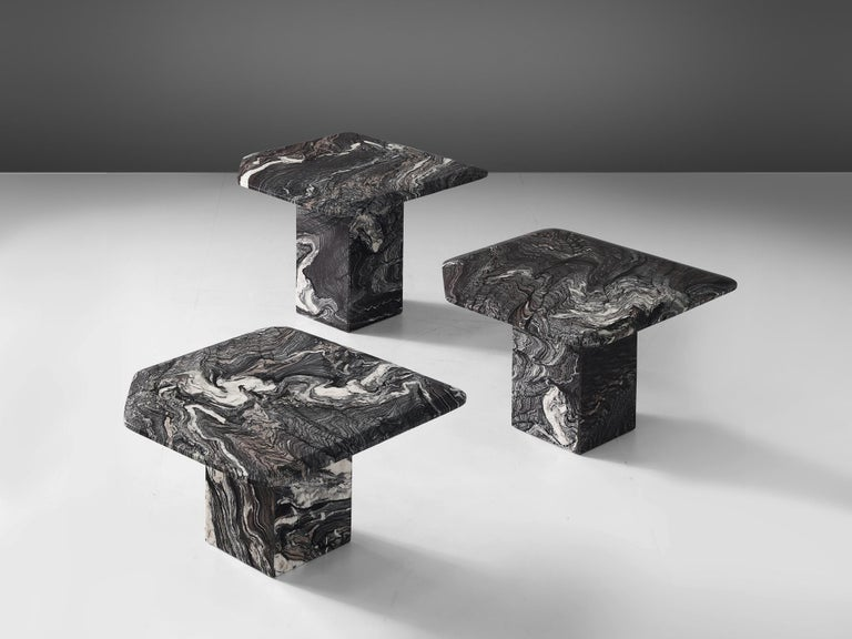 Set of three side tables, marble, Italy, 1980s.