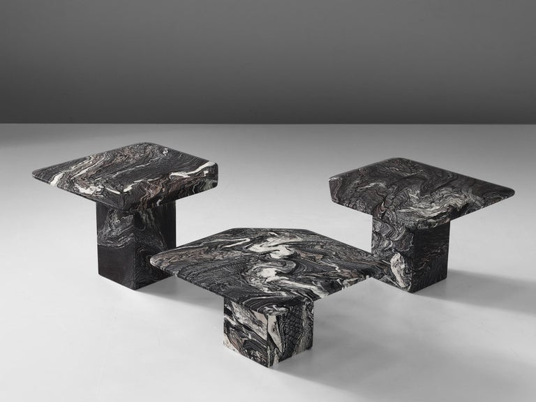 Mid-Century Modern Set of Three Marble Side Tables, circa 1980s For Sale