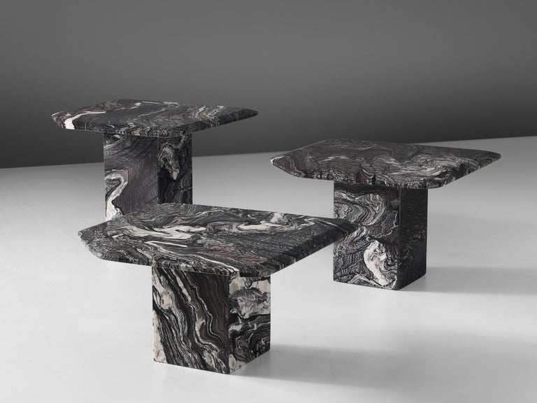 Italian Set of Three Marble Side Tables, circa 1980s For Sale