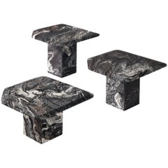 Set of Three Marble Side Tables, circa 1980s