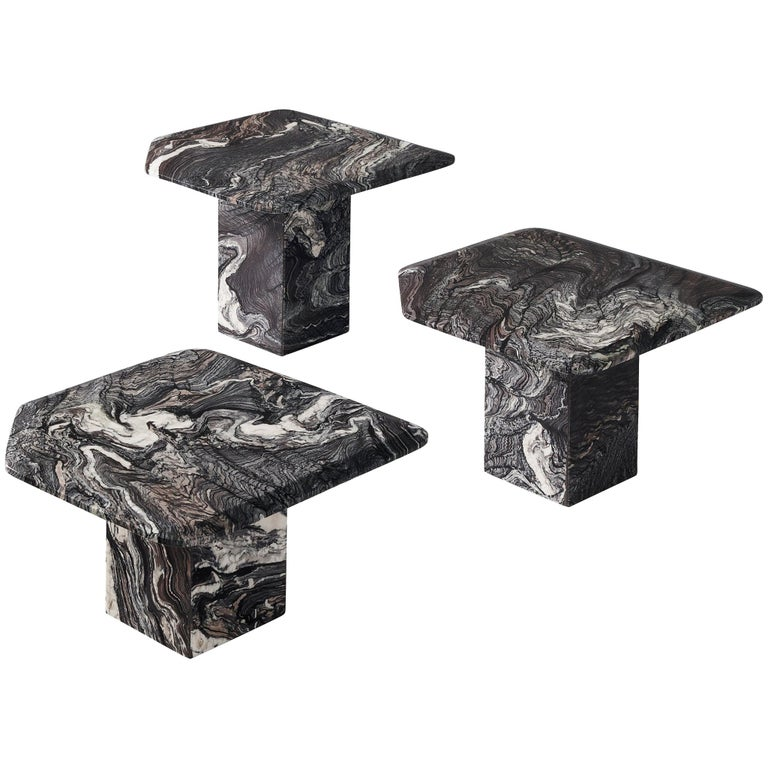 Set of Three Marble Side Tables, circa 1980s For Sale