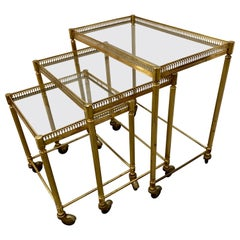 Set of Three Mastercraft Brass and Glass Nesting Tables