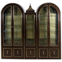 Set of Three Mastercraft Burled Wood & Brass Vitrine Cabinets by William Doezema