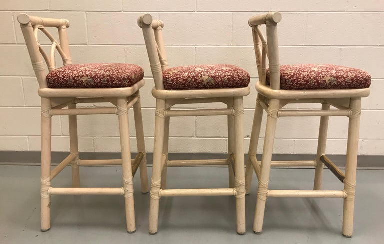 Set of Three McGuire Bar or Counter Stools For Sale 5