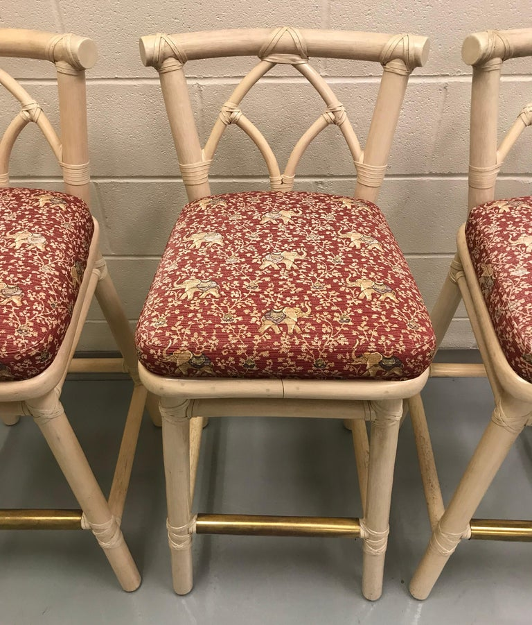 Set of Three McGuire Bar or Counter Stools In Good Condition For Sale In Lake Success, NY