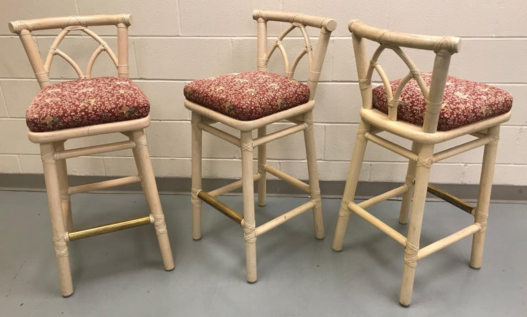 Set of Three McGuire Bar or Counter Stools For Sale 1