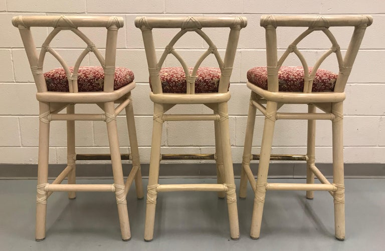 Set of Three McGuire Bar or Counter Stools For Sale 3