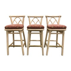 Set of Three McGuire Bar or Counter Stools
