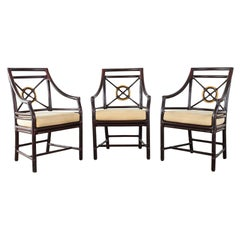 Set of Three McGuire Lacquered Target Dining Armchairs
