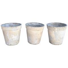 Set of Three Medium Flower Pot Form Planters Designed by Willy Guhl