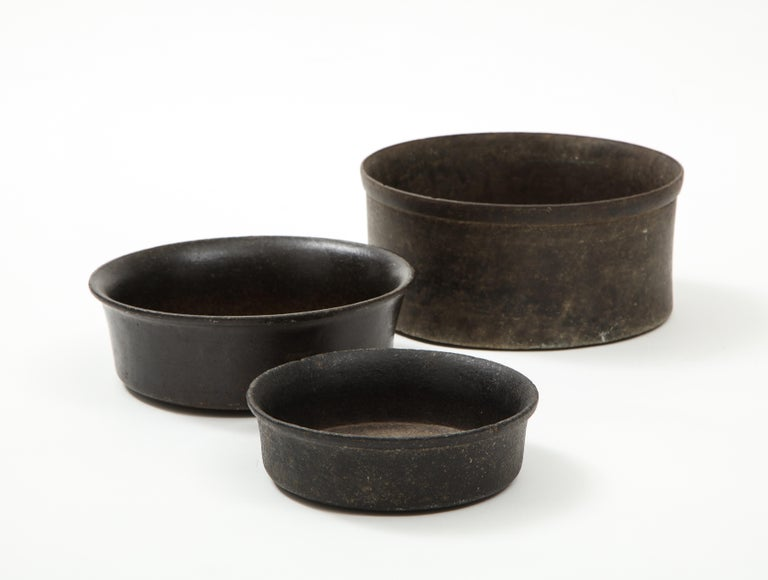Set of three Mesoamerican bowls, (PreColumbian/Chauvin) 900 B.C. - 1500 A.D. Stone, hand-carved  Measures: Height 2diameter 7 in. Height3 diameter 9 in. Height4.25 diameter 9.5 in.