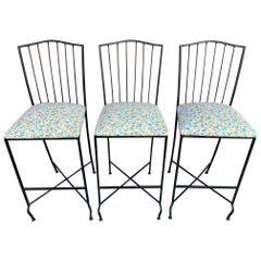 Set of Three Metal Bar Stools