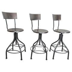 Set of Three Metal Vintage Barstools