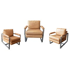 Set of Three Mitchell Gold + Bob Williams Chrome Armchairs