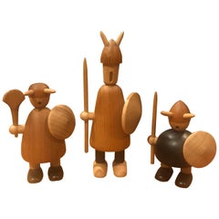 Set of Three Midcentury Danish Vikings Figures in the Style of Jacob Jensen